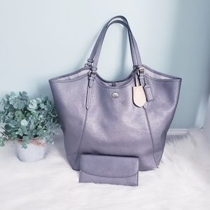 Coach Peyton leather silver/pewter tote and wallet